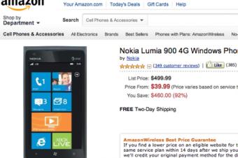 Lumia 900がAmazonでさらに値下げ