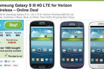 VerizonのGalaxy S IIIが9割引き