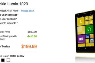 AT&TがLumia 1020を値下げ