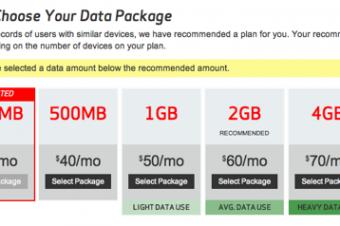 Verizonが250MBのデータメニューを追加