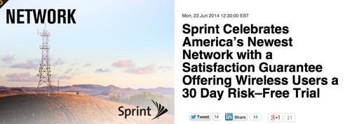 T-Mobileに対抗しSprintが30日間無償トライアル