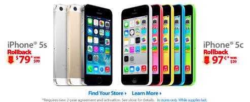 WalmartがiPhone 5s/5cをさらに値下げ