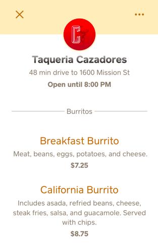 Orderアプリのメニュー画面
