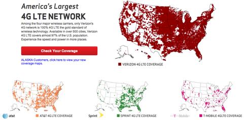 Verizonの4G LTE比較マップが問題に