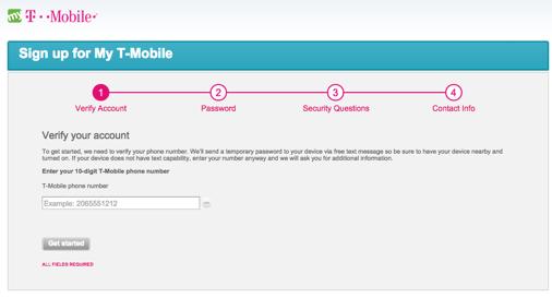 「My T-Mobile」の登録画面