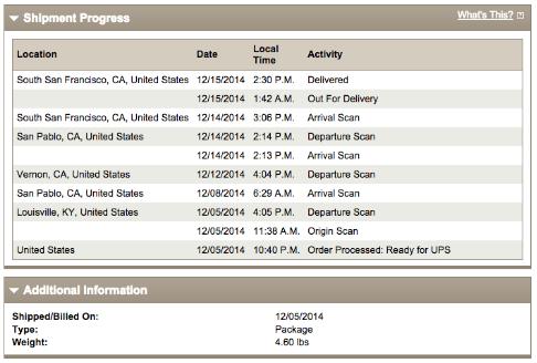 UPSのトラッキング情報