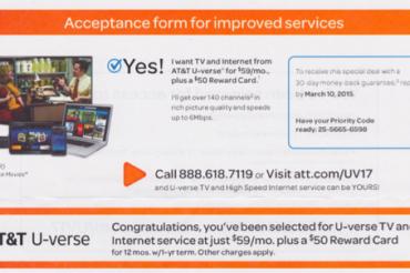 AT&Tから「サービス承諾書」が届いた