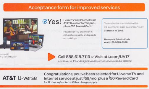 AT&Tから来た「サービス承諾書」