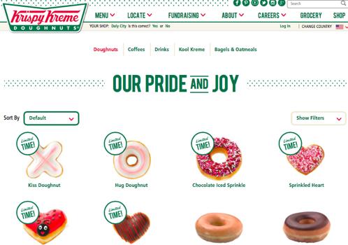 Krispy Kremeのメニューページより