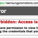 Samsungのプロモーションページに表示されたエラーメッセージ
