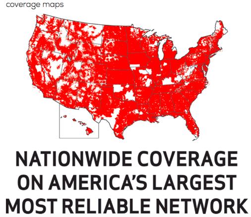 Total Wirelessのカバレッジマップ(Total Wirelessのホームページより)