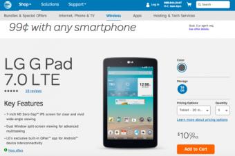 AT&Tがタブレットほぼ無料セール