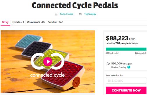 IndiegogoのConnecte Cycleプロジェクトページより
