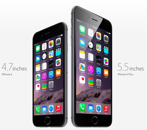 iPhone 6と6 Plus(Appleのホームページより)