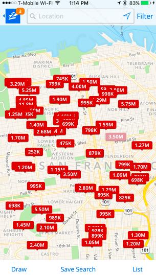 サンフランシスコ・ダウンタウンの売却物件(Zillowアプリより)