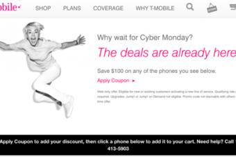 T-Mobileが早くもサイバーマンデーセール