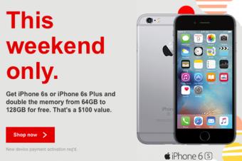 VerizonがiPhone 6sの容量アップセール