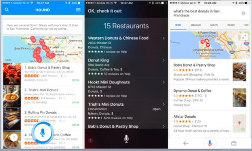 Hound(左)、Siri(中央)、Google(右)(以下同じ)