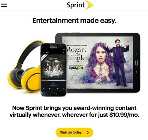 Sprintのホームページより