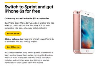SprintとAT&Tが似たようなiPhoneのプロモーション