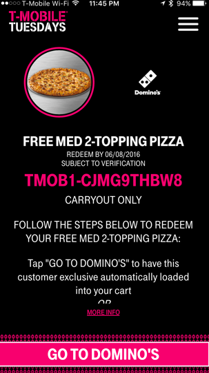 T-Mobile Tuesdaysアプリより
