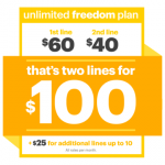 Sprintの「Unlimited Freedom Plan」のwebサイトより