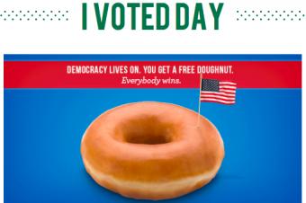 大統領選挙でドーナツをもらう
