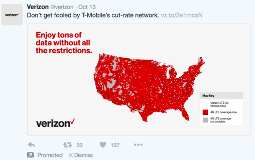 VerizonのTwitterページより