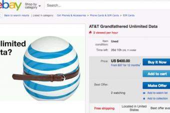 AT&Tがデータ無制限プランを値上げ