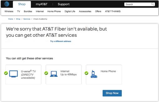 AT&T Fiberのサイトより