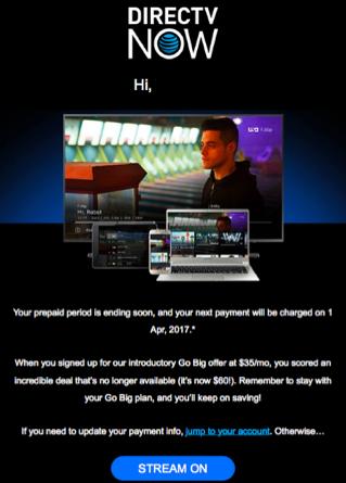 DirecTV Nowが顧客の繋ぎ止めに躍起