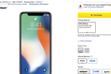 Best BuyではiPhone Xが100ドル高い