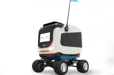 ロボットが学内で弁当を配達